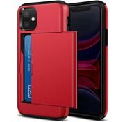 ShieldCase® Kaarthouder case met slide iPhone 12 - 6.1 inch (rood)