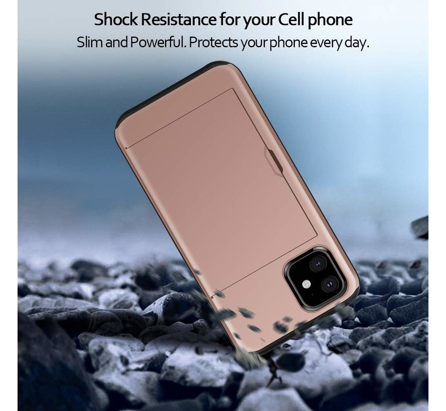 ShieldCase Kaarthouder case met slide iPhone 12 - 6.1 inch (roze)