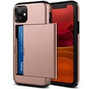 ShieldCase® Kaarthouder case met slide iPhone 12 - 6.1 inch (roze)