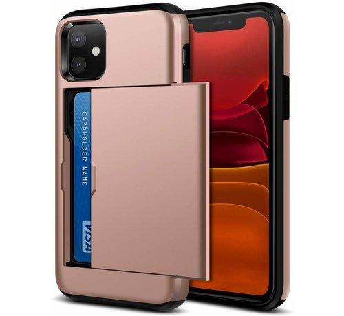 ShieldCase® ShieldCase Kaarthouder case met slide iPhone 12 - 6.1 inch (roze)