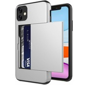 ShieldCase® Kaarthouder case met slide iPhone 12 - 6.1 inch (zilver)