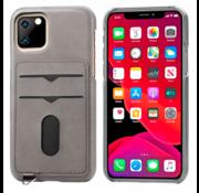 ShieldCase® Vintage case met pashouder iPhone 12 - 6.1 inch (grijs)