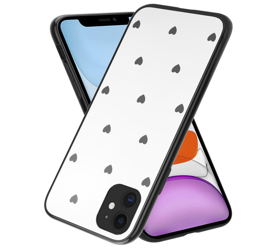 ShieldCase iPhone 12 - 6.1 inch spiegel hoesje met zwarte hartjes