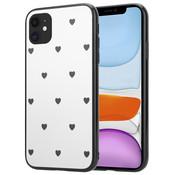 ShieldCase® iPhone 12 - 6.1 inch spiegel hoesje met zwarte hartjes