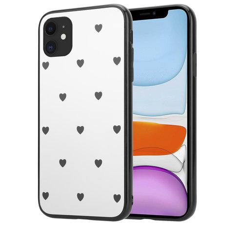ShieldCase® ShieldCase iPhone 12 - 6.1 inch spiegel hoesje met zwarte hartjes