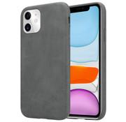 ShieldCase® iPhone 12 - 6.1 inch hoesje leer (grijs)