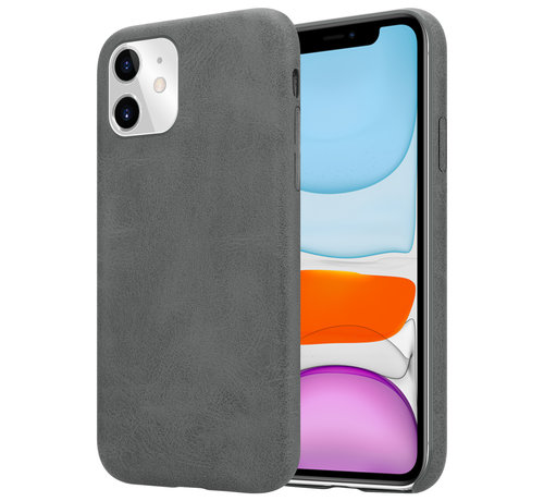 ShieldCase® Shieldcase iPhone 12 - 6.1 inch hoesje leer (grijs)