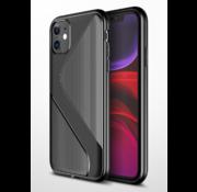 ShieldCase® Gestreept siliconen hoesje iPhone 12  - 6.1 inch (zwart)