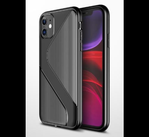 ShieldCase® Shieldcase Gestreept siliconen hoesje iPhone 12  - 6.1 inch (zwart)