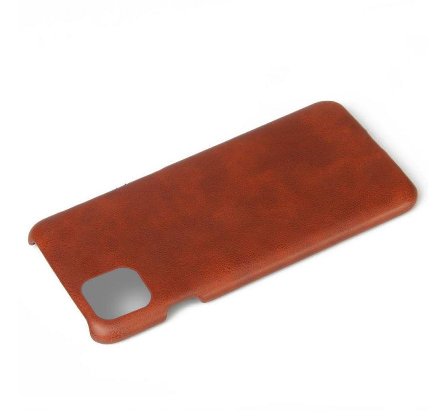 Shieldcase iPhone 12 - 6.1 inch vintage leren hoesje (bruin)