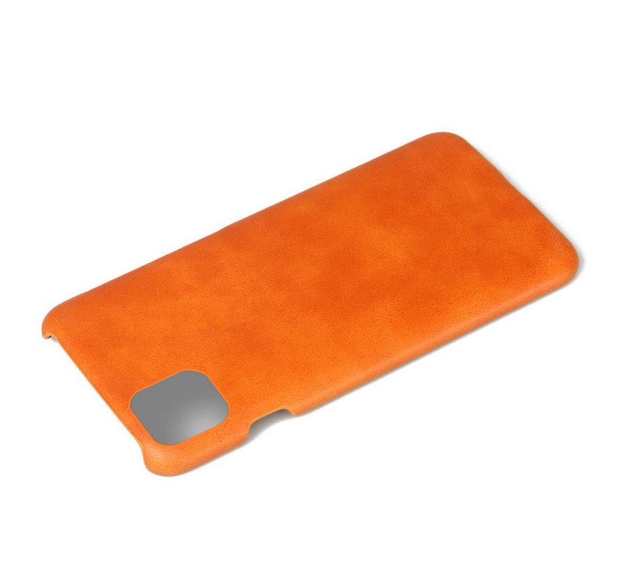 Shieldcase iPhone 12 - 6.1 inch vintage leren hoesje (oranje)