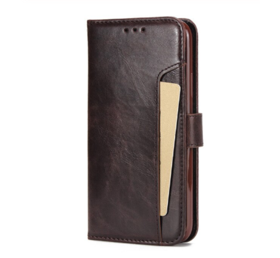 ShieldCase iPhone 12 - 6.1 inch uitneembare book case (bruin)
