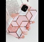 ShieldCase® iPhone 12 - 6.1 inch hoesje marmeren patroon (roze)