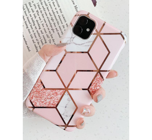 ShieldCase® ShieldCase iPhone 12 - 6.1 inch hoesje marmeren patroon (roze)