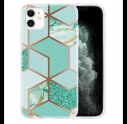 ShieldCase® iPhone 12 - 6.1 inch hoesje marmeren patroon (groen)