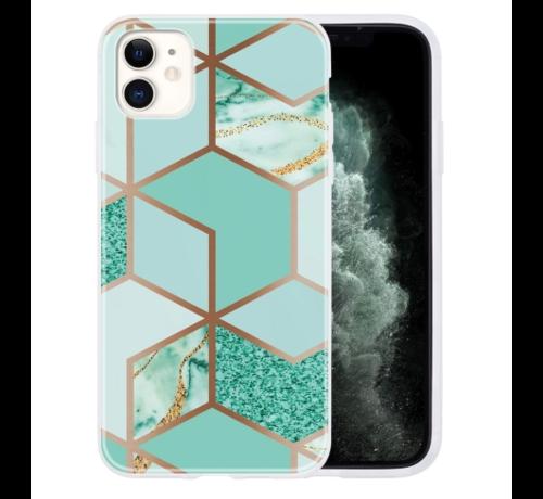 ShieldCase® ShieldCase Green Pattern Marmer iPhone 12 - 6.1 inch hoesje (groen)