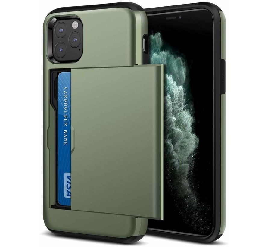 ShieldCase Kaarthouder case met slide iPhone 12 Pro - 6.1 inch (groen)