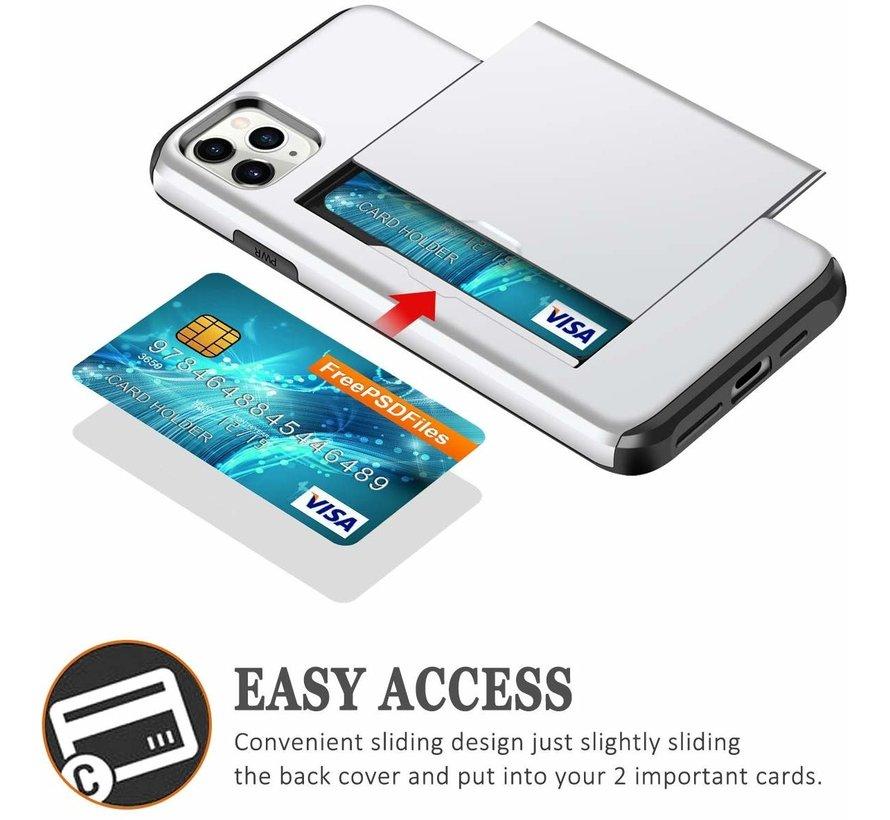 ShieldCase Kaarthouder case met slide iPhone 12 Pro - 6.1 inch (zilver)