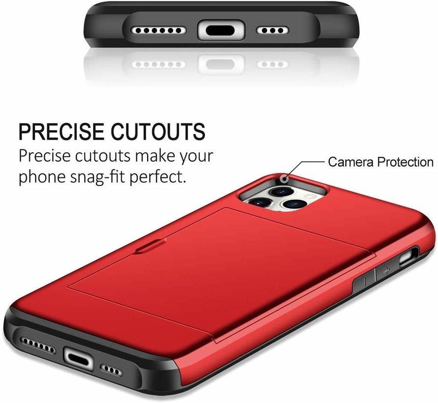 ShieldCase Kaarthouder case met slide iPhone 12 Pro - 6.1 inch (rood)