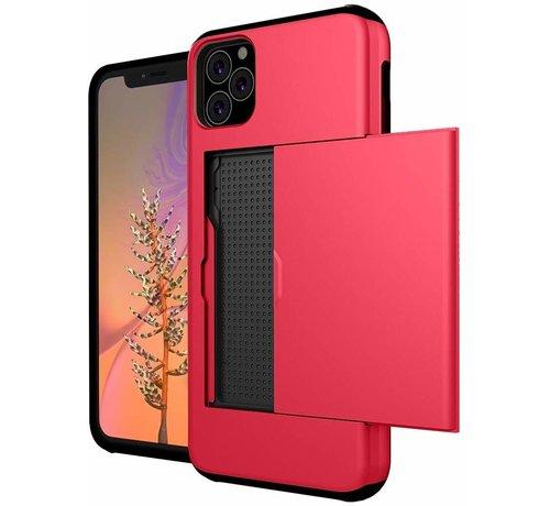ShieldCase® ShieldCase Kaarthouder case met slide iPhone 12 Pro - 6.1 inch (rood)