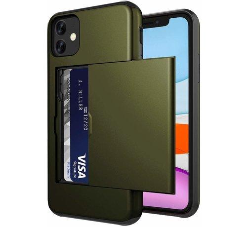 ShieldCase® ShieldCase Kaarthouder case met slide iPhone 12 Mini - 5.4 inch (groen)