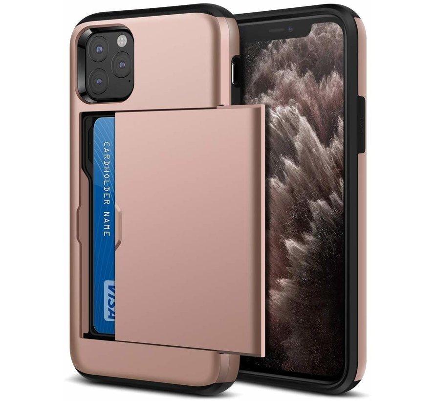 ShieldCase Kaarthouder case met slide iPhone 12 Pro - 6.1 inch (roze)