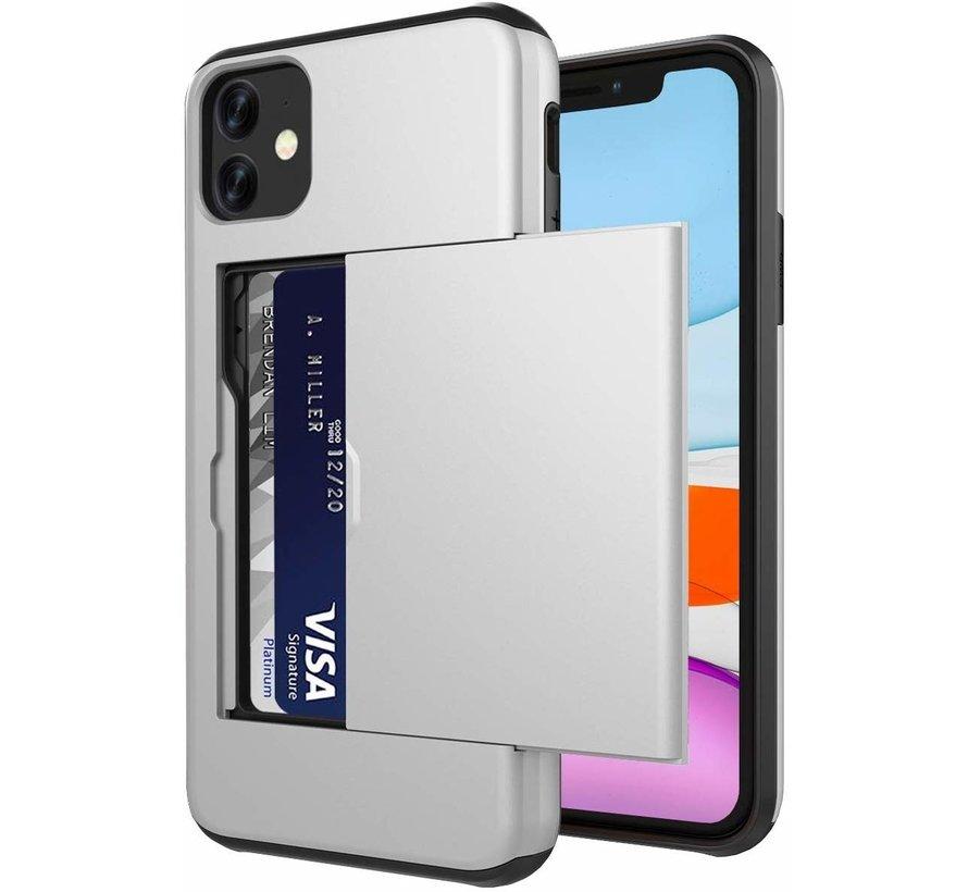 ShieldCase Kaarthouder case met slide iPhone 12 Mini - 5.4 inch (zilver)