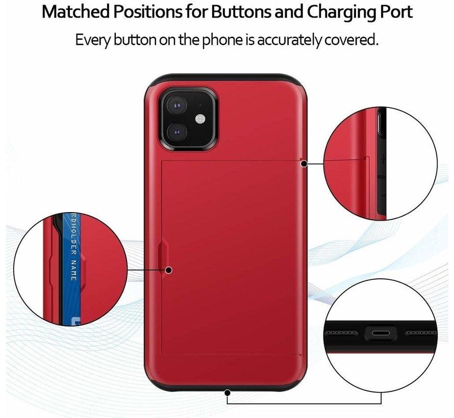 ShieldCase Kaarthouder case met slide iPhone 12 Mini - 5.4 inch (rood)