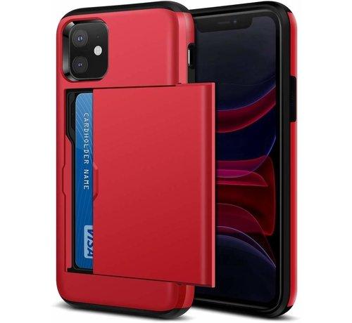 ShieldCase® ShieldCase Kaarthouder case met slide iPhone 12 Mini - 5.4 inch (rood)