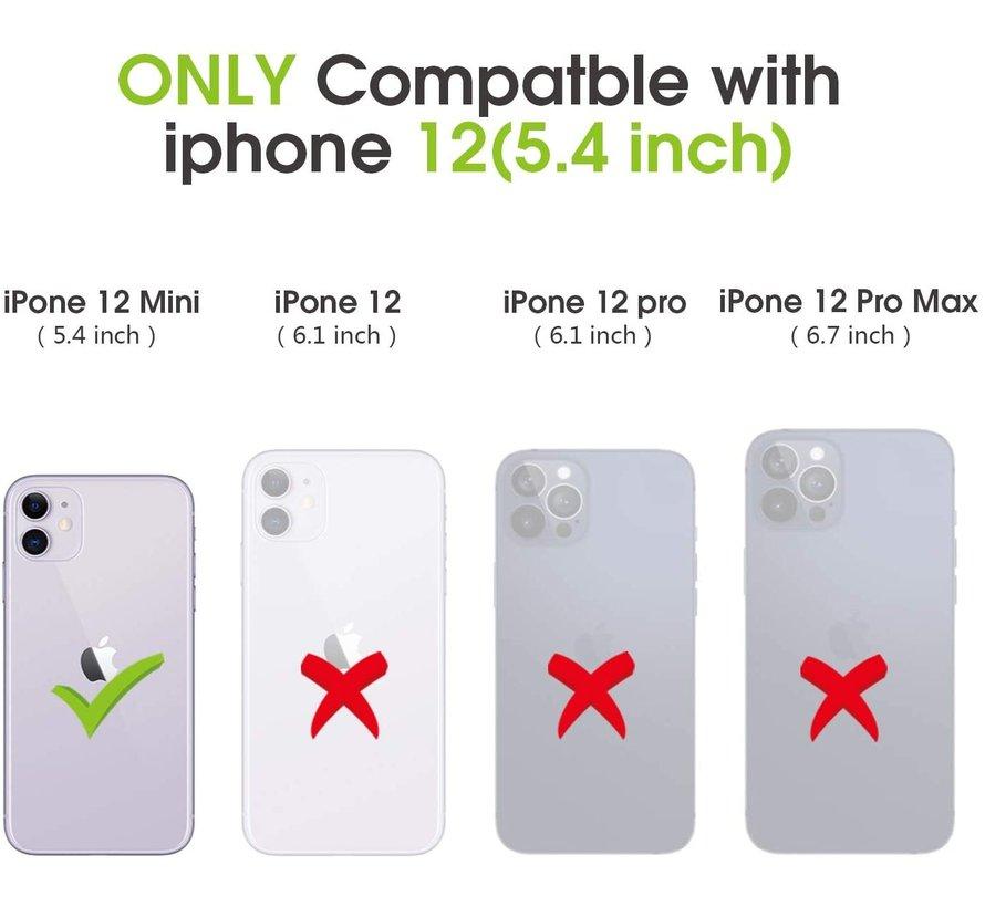 ShieldCase iPhone 12 Mini - 5.4 inch uitneembare book case (bruin)