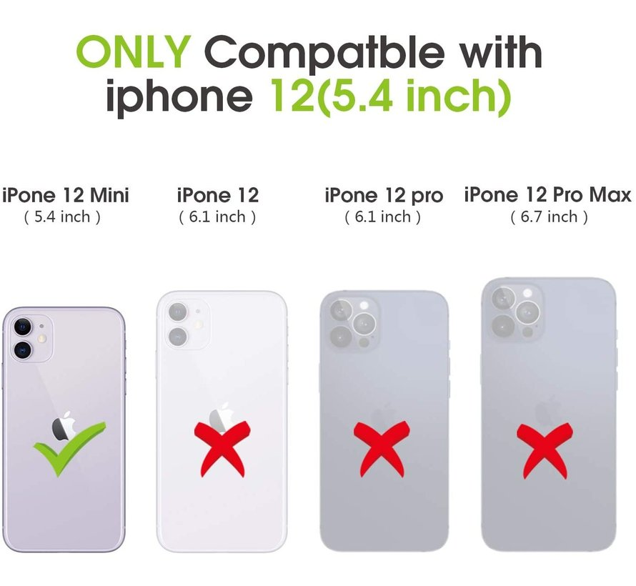 ShieldCase Gegalvaniseerde flipcase iPhone 12 Mini - 5.4 inch (zwart)