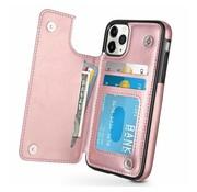 ShieldCase® Wallet case iPhone 12 Pro - 6.1 inch (roze)