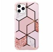 ShieldCase® iPhone 12 Pro - 6.1 inch hoesje marmeren patroon (roze)