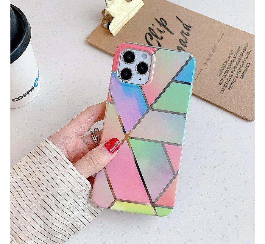 ShieldCase Rainbow Pattern Marmer iPhone 12 Pro - 6.1 inch hoesje