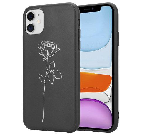 ShieldCase® ShieldCase iPhone 12 Mini - 5.4 inch hoesje met witte roos