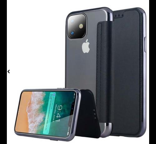 ShieldCase® ShieldCase Gegalvaniseerde flipcase iPhone 12 Mini - 5.4 inch (zwart)