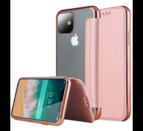 ShieldCase® ShieldCase Gegalvaniseerde flipcase iPhone 12 Mini - 5.4 inch (roze)