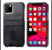 ShieldCase® Vintage case met pashouder iPhone 12 Mini - 5.4 inch (zwart)
