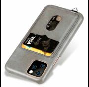 ShieldCase® Vintage case met pashouder iPhone 12 Pro - 6.1 inch (grijs)