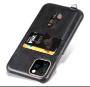 ShieldCase® Vintage case met pashouder iPhone 12 Pro - 6.1 inch (zwart)