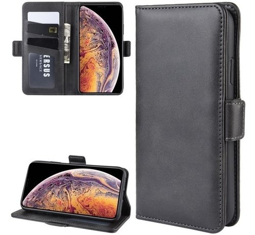 ShieldCase® ShieldCase Leren Bookcase iPhone 12 Pro - 6.1 inch (zwart)