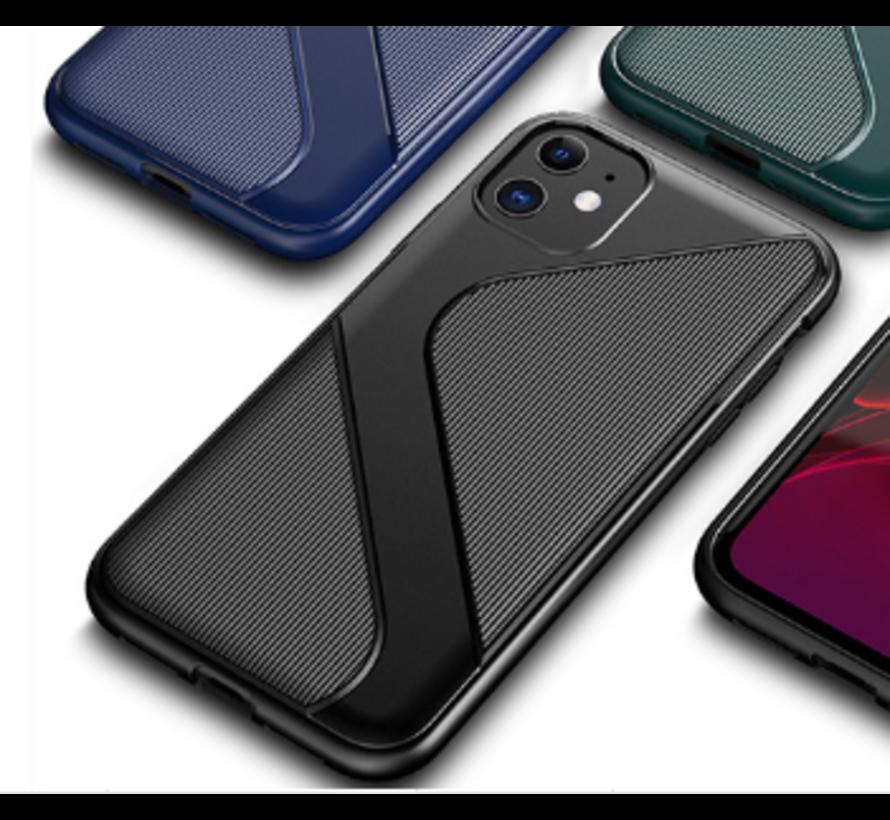 Shieldcase Gestreept siliconen hoesje iPhone 12 Mini - 5.4 inch (zwart)