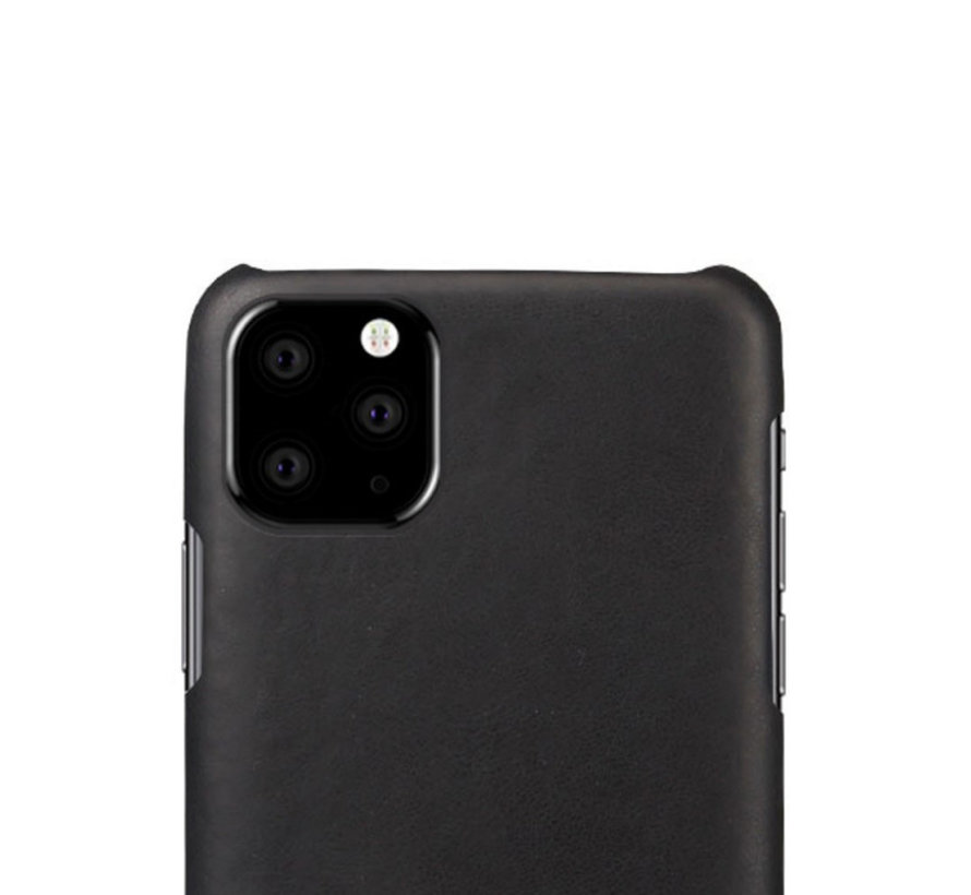 Shieldcase iPhone 12 Mini - 5.4 inch vintage leren hoesje (zwart)