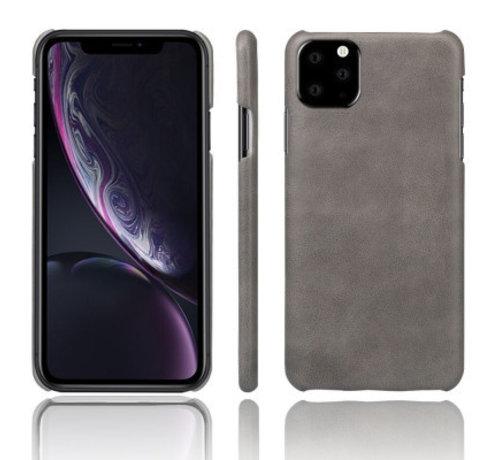 ShieldCase® Shieldcase iPhone 12 Mini - 5.4 inch vintage leren hoesje (grijs)