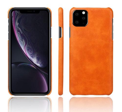 ShieldCase® Shieldcase iPhone 12 Mini - 5.4 inch vintage leren hoesje (oranje)