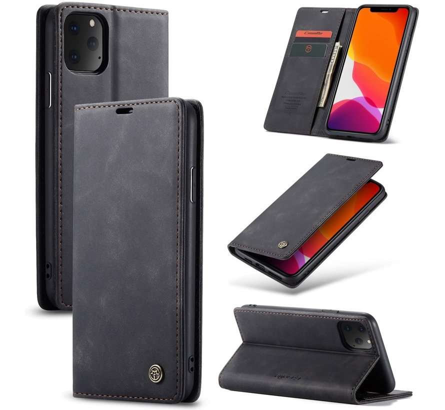 CaseMe Luxe bookcase iPhone 12 Pro - 6.1 inch (zwart)