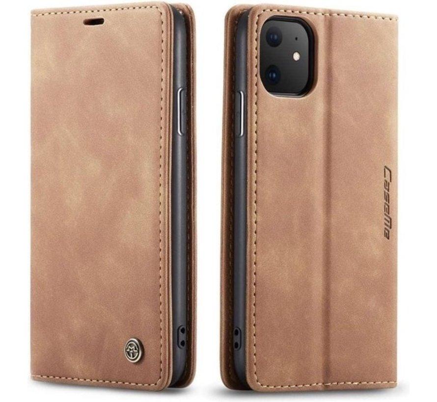 CaseMe Luxe bookcase iPhone 12 - 6.1 inch (bruin)