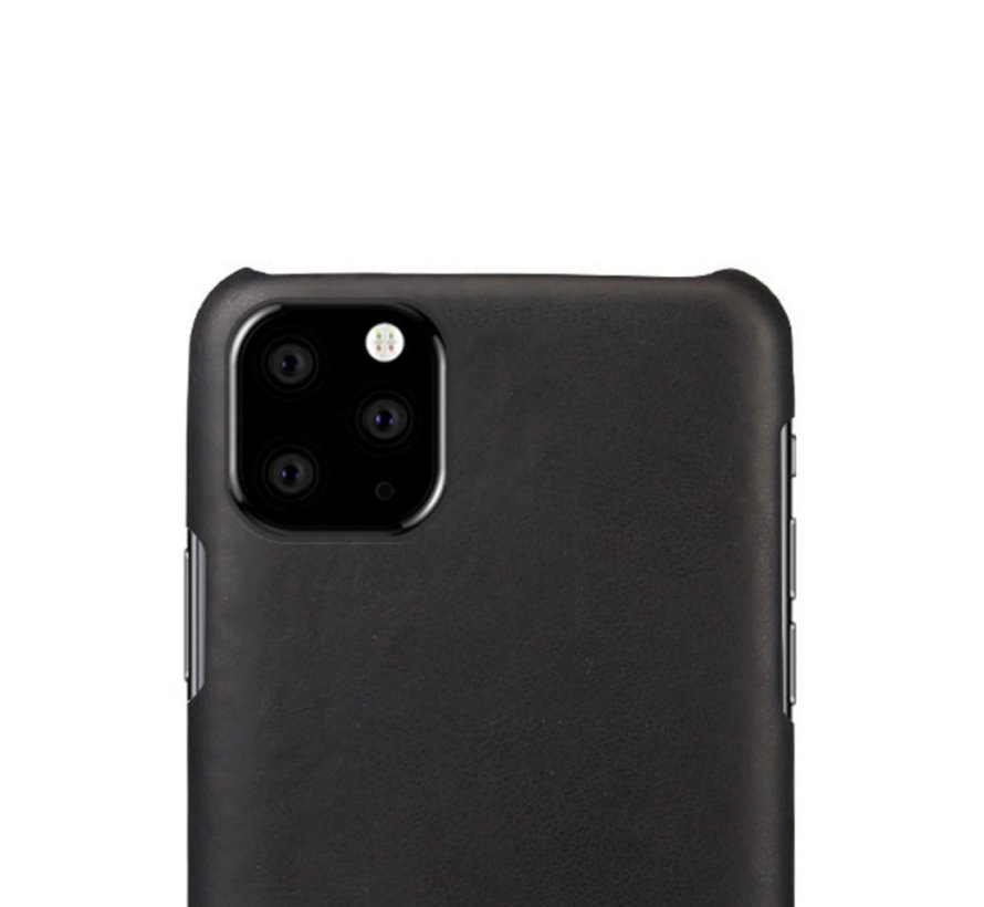 Shieldcase iPhone 12 Pro - 6.1 inch vintage leren hoesje (zwart)