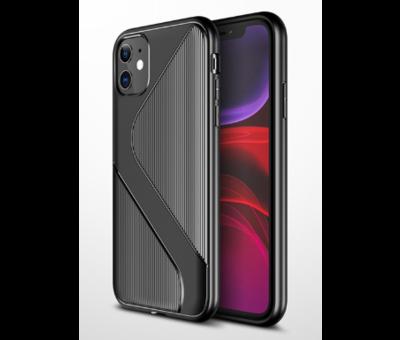 ShieldCase® Shieldcase gestreept siliconen hoesje iPhone 12 Pro Max (zwart)