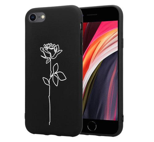 ShieldCase® ShieldCase iPhone SE 2020  hoesje met witte roos